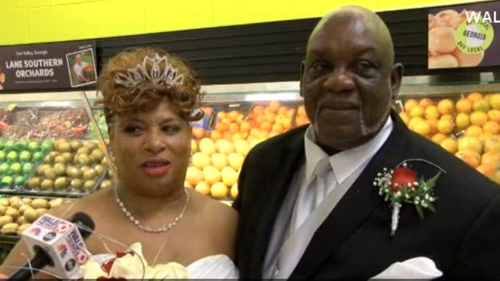 A couple wed in a grocery store