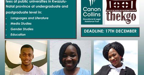 Canon Collins Thekgo (Undergraduate & Postgraduate) Bursary 2019