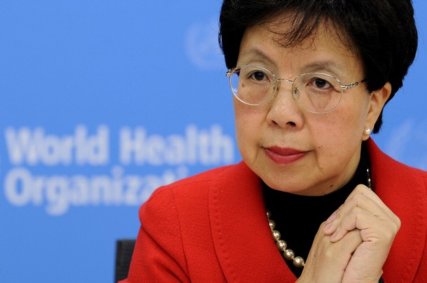 """World Health Organisation (WHO) Director General Margaret Chan listens to questions during her presentation to the media of a WHO report """"Women and Health"""" at the WHO headquarters on November 9, 2009 in Geneva. The report underlined that women were particularly vulnerable to a lack of adequate care in old age -- when they often outlive men -- and in their adolescence.  AFP PHOTO / FABRICE COFFRINI (Photo credit should read FABRICE COFFRINI/AFP/Getty Images)"""