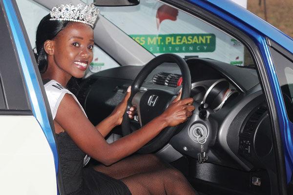 Miss Mt Pleasant Gets Prize Car