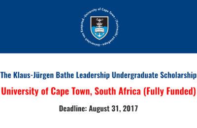 UCT Klaus-Jürgen Bathe Leadership Scholarships 2018