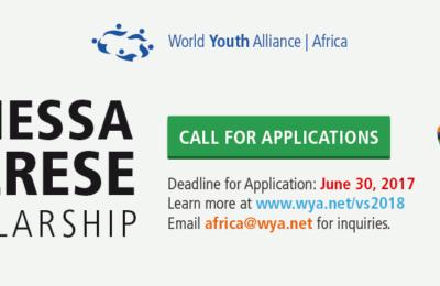 World Youth Alliance (WYA) Africa Vanessa Cherese Scholarship 2018