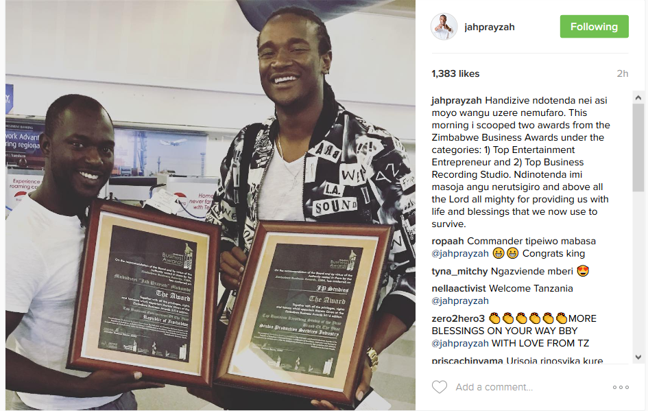 Wow!!! Jah Prayzah Scooped Two Awards On The Same Day