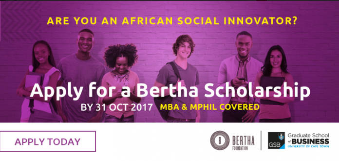 UCT GSB Bertha Center for Social Innovation and Entrepreneurship Scholarships 2017/2018