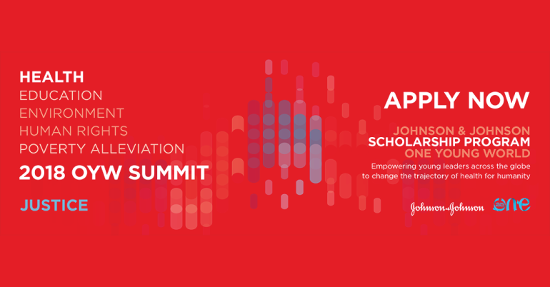 Johnson & Johnson Scholarship for One Young World Summit 2018