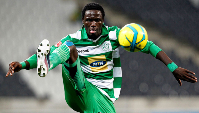 Rodreck Mutuma of Bloemfontein Celtic during the Absa Premiership match between Black Aces and Bloemfontein Celtic on the 25 August 2013 at Mbombela Stadium, Mpumalanga ©/BackpagePix