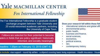Yale Fox International Fellowship 2019