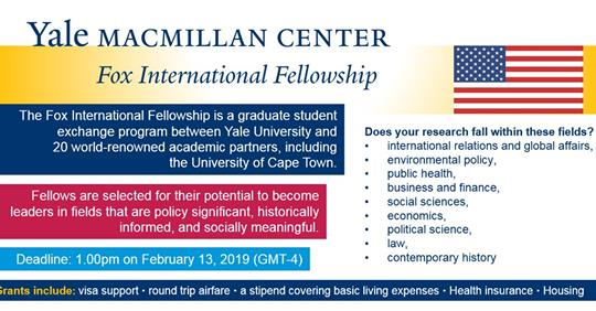 Yale Fox International Fellowship 2019