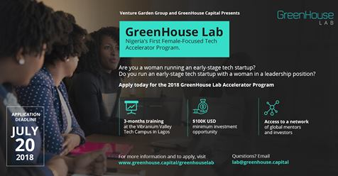 GreenHouse Capital 2018 Female-Focused Tech Accelerator Program