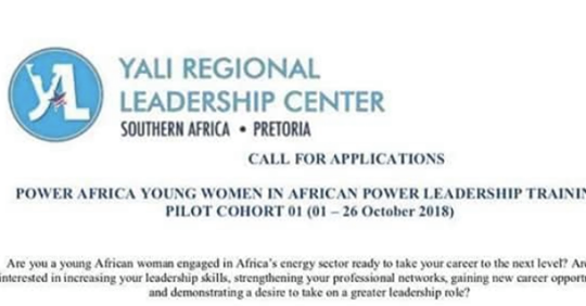 YALI Power Africa Young Women in African Power Leadership Training Programme 2018
